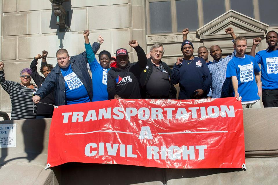 A group of protestors from the Milwaukee Transit Riders Union