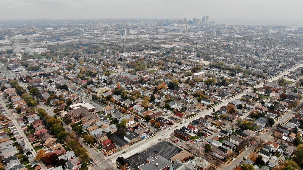 Overhead view of the Clarke Square neighborhood in Milwaukee