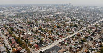 Overhead view of the Clarke Square neighborhood in Milwaukee