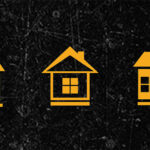 an illustration of three little houses on a black background